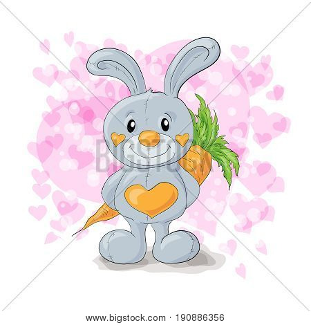 Cute bunny with hearts cartoon. Vector illustration.