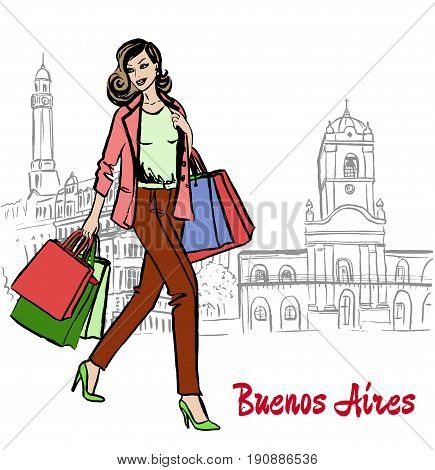 Hand-drawn sketch of woman with shopping bags walking on Plaza de Mayo, Bueno Aires, Argentina