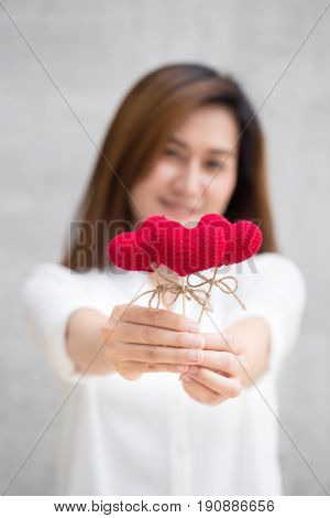 Giving Love Gift, Asian Woman Hand Hold Give Beautiful Red Heart Sweet Loving Symbol Of Take Care Or