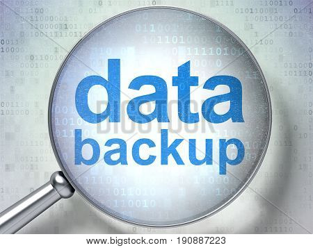Data concept: magnifying optical glass with words Data Backup on digital background, 3D rendering