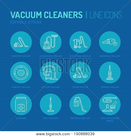 Vacuum cleaners flat line icons. Different vacuums types - industrial, household, handheld, robotic, canister, wet dry. Thin linear signs for housework equipment shop.