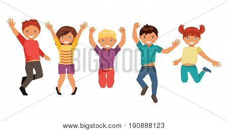 Group of happy jumping kids isolated on white background