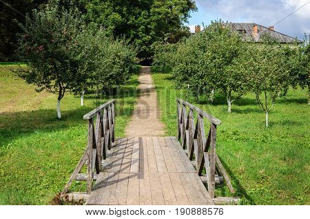 Small wooden bridge in park of Petrovskoe village Pushkinskiye Gory Russia. State Museum-reserve of A. S. Pushkin.