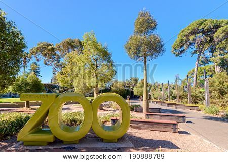 Adelaide Australia - April 14 2017: Adelaide Zoo installation near the main entrance in Adelaide CBD on a Sunday morning. Adelaide Zoo is Australia's second oldest zoo