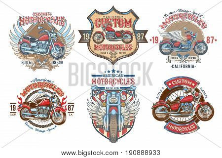 Set vector color vintage badges, emblems with a custom motorcycle. Print, template, advertising design element for the motor club, motorcycle repair shop