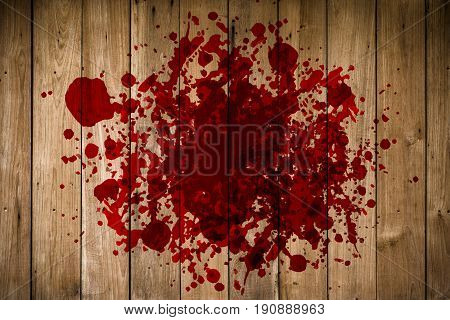 Grunge Of Blood On Wood Floor, Halloween Bloody Murder Or Death Crime Killer Violation Concept.