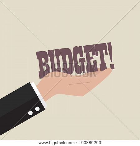 Big hand holding budget word. Business concept