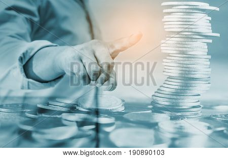 Double exposure saving money and account banking for finance growth business concept Man with stack of coin money networking people internet banking online banking concept
