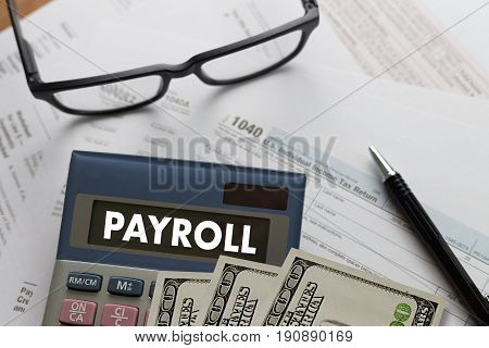 PAYROLL Businessman working Financial accounting account, accounting concept
