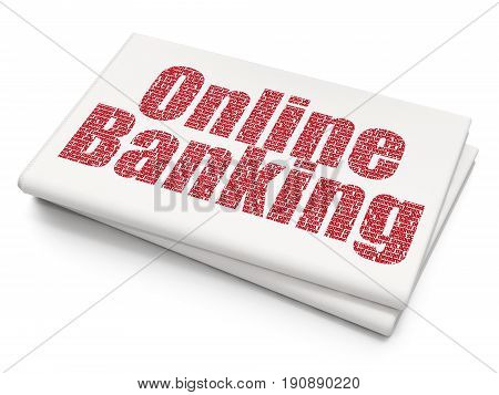 Banking concept: Pixelated red text Online Banking on Blank Newspaper background, 3D rendering