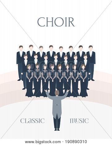 Vertical advertising poster of performance classical choir. Man and woman singers together with conductor. Colorful vector illustration in flat style with lettering