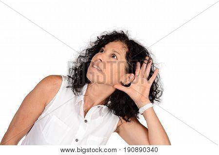 Woman Hearing Something.