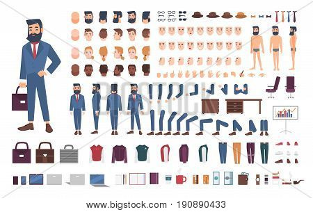 Businessman character constructor. Male clerk creation set. Different postures, hairstyle, face, legs, hands, accessories, clothes collection. vector cartoon illustration Guy front side back view