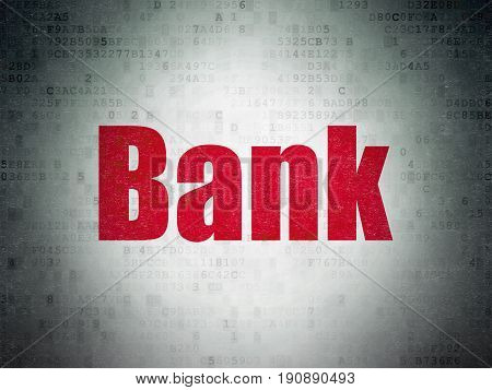 Banking concept: Painted red word Bank on Digital Data Paper background