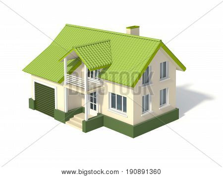 Two story house with a green roof and garage isolated on white. 3D rendering with clipping path