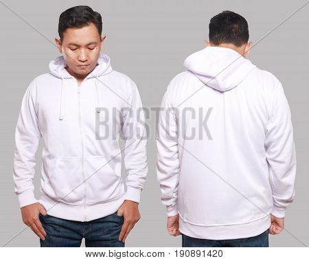 Blank sweatshirt mock up front and back view isolated on grey. Asian male model wear plain white hoodie mockup. Hoody design presentation. Jumper for print. Blank clothes sweat shirt sweater