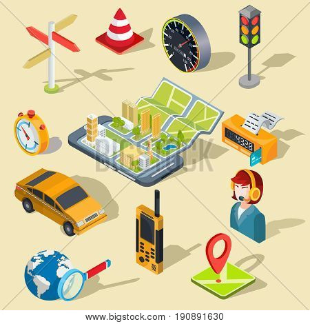 Vector illustration of the concept using the mobile application of the global positioning system. Image of a smartphone with a paper map unfolded from it, map with 3D houses, car