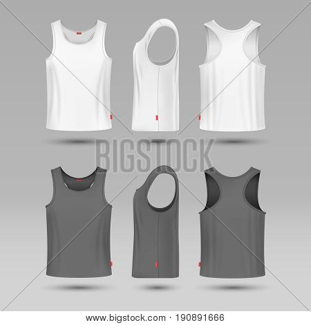 Mans white blank tank singlet. Male shirt without sleeves vector template. T-shirt front and back, illustration of mock up shirt