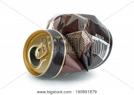 Crumpled empty beer can on white background