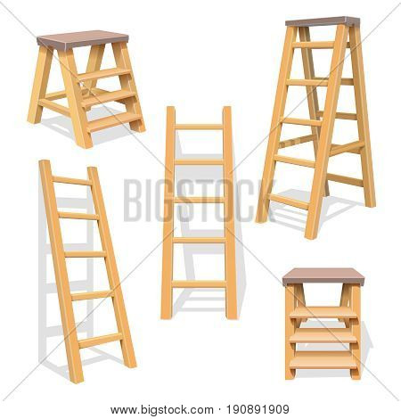 Wood household steps. Isolated wooden ladder vector set. Wooden ladder construction, stepladder illustration of set