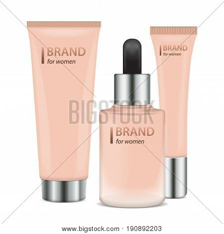 Set of Realistic ontainers for Foundation or bb and cc cream. Mock-up of mat glass tube template of packaging for cosmetic product for your design