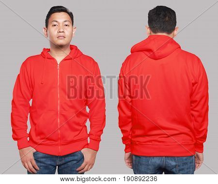Blank sweatshirt mock up front and back view isolated on grey. Asian male model wear plain red hoodie mockup. Hoody design presentation. Jumper for print. Blank clothes sweat shirt sweater