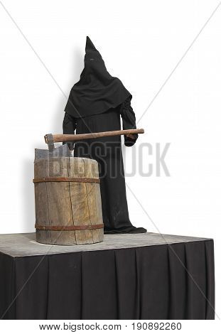 executioner in a black robe with an ax on the scaffold