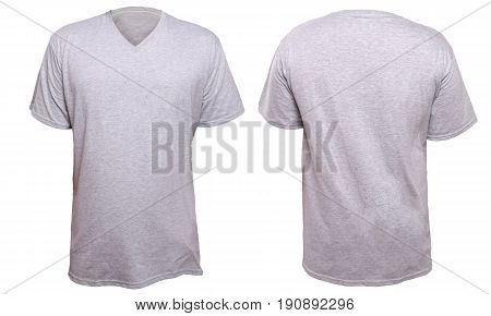 Misty Grey t-shirt mock up front and back view isolated. Plain gray shirt mockup. V-Neck shirt design template. Blank tees for print
