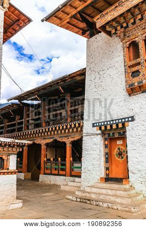 Traditional Bhutanese temple architecture in Bhutan South Asia.