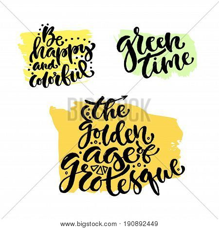 Vector hand lettering collection. Modern hand lettered quotes. Printable calligraphy phrase. T-shirt print design.