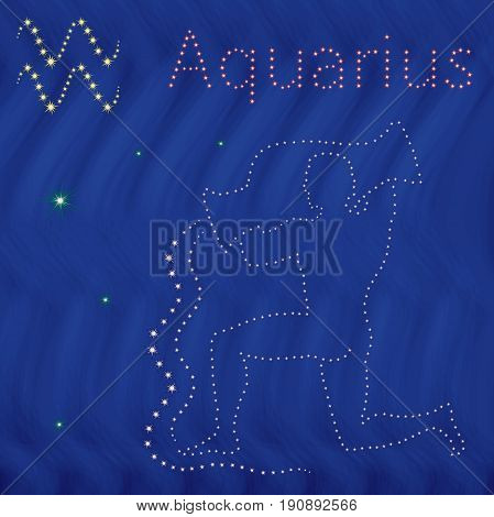 Zodiac Sign Aquarius Contour On The Starry Sky