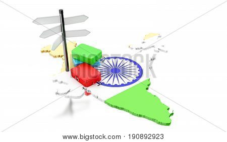 3d renderer image. India map with suitcases and signpost. Travel concept. Isolated white background