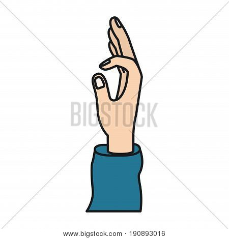 colorful silhouette right hand extended up forming a circle with fingers vector illustration