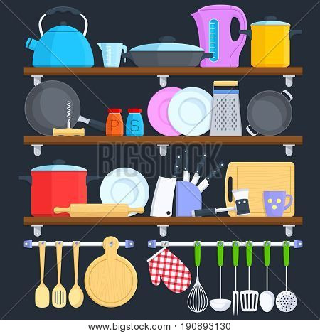 Kitchen shelves with cookware and cooking equipment flat vector concept. Cooking kitchenware illustration