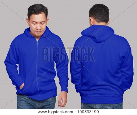Blank sweatshirt mock up front and back view isolated on grey. Asian male model wear plain blue hoodie mockup. Hoody design presentation. Jumper for print. Blank clothes sweat shirt sweater