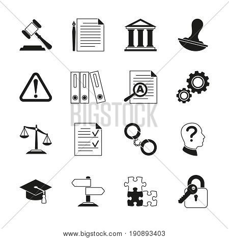 Law consulting, legal compliance vector icons. Policy and regulations pictograms illustration