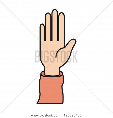 colorful silhouette front view right palm hand extended up for greeting vector illustration