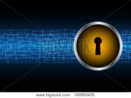 Technology Digital Future Abstract Cyber Security Keyhole Lock Circle Background