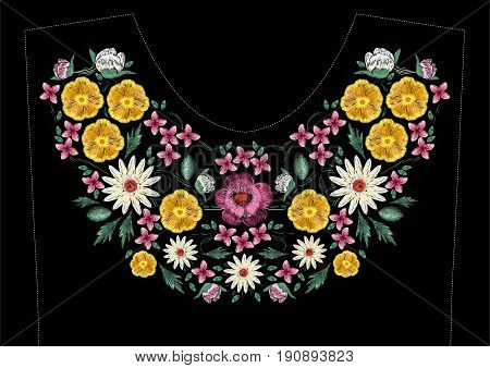 Bright satin stitch embroidery design with flowers. Folk line floral trendy pattern for dress neckline. Ethnic colorful fashion ornament for neck on black background