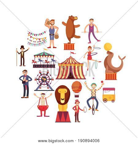 Circus carnival flat vector icons in circle design. Cartoon clown and acrobat performance in circus illustration