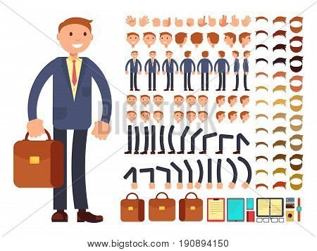 Cartoon businessman customizable vector character set. Constructor of different poses. Character businessman constructor foot and hair, arm and head illustration
