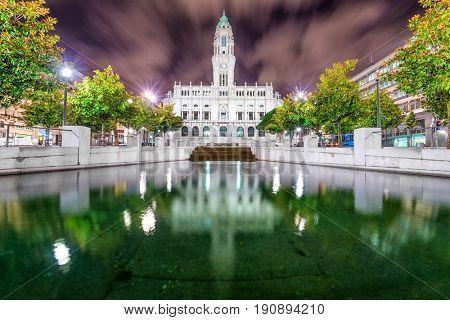 Porto, Portugal city hall at night.