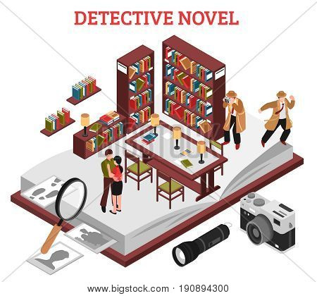 Detective novel design concept with interior of reading room of library and elements of detective plot isometric vector illustration