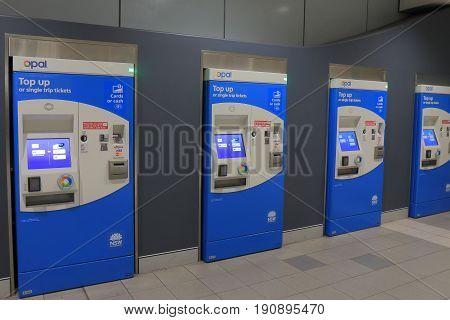 SYDNEY AUSTRALIA - MAY 30, 2017: Train ticket vending machine at Sydney airport.