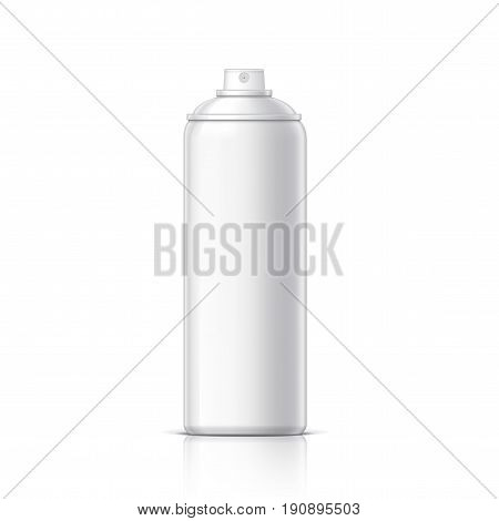Realistic White Cosmetics bottle can Spray Deodorant Air Freshener. Object shadow and reflection on separate layers. Vector illustration