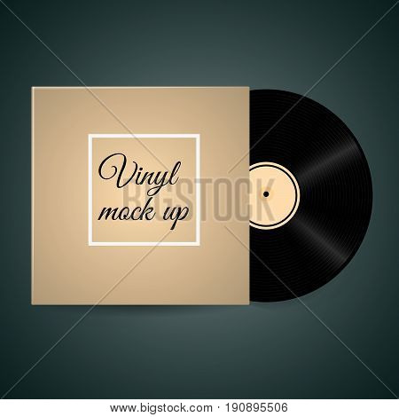 Vector Isolated Vinyl Disc With Its Cover Template Ready For Your Design Eps 10