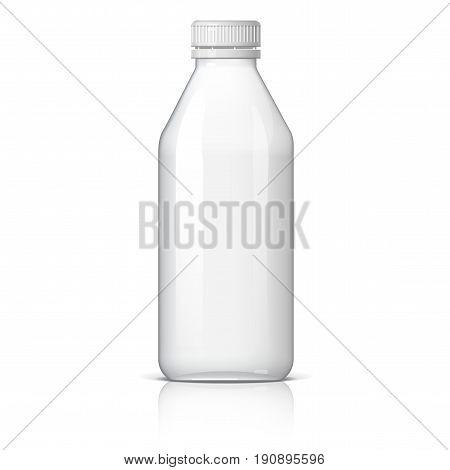 Realistic plastic bottle for water or milk Vector illustration