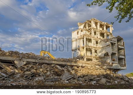 Old building is being demolished to make way for new construction