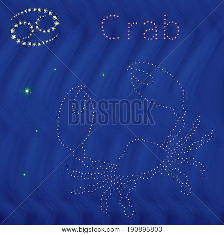 Zodiac Sign Cancer Contour On The Starry Sky