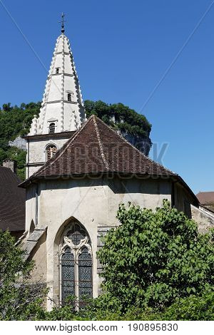 Baume Abbey in its village of Baume-les-Messieurs was founded during the reign of Louis the Pious in the early ninth century by Saint Eutice